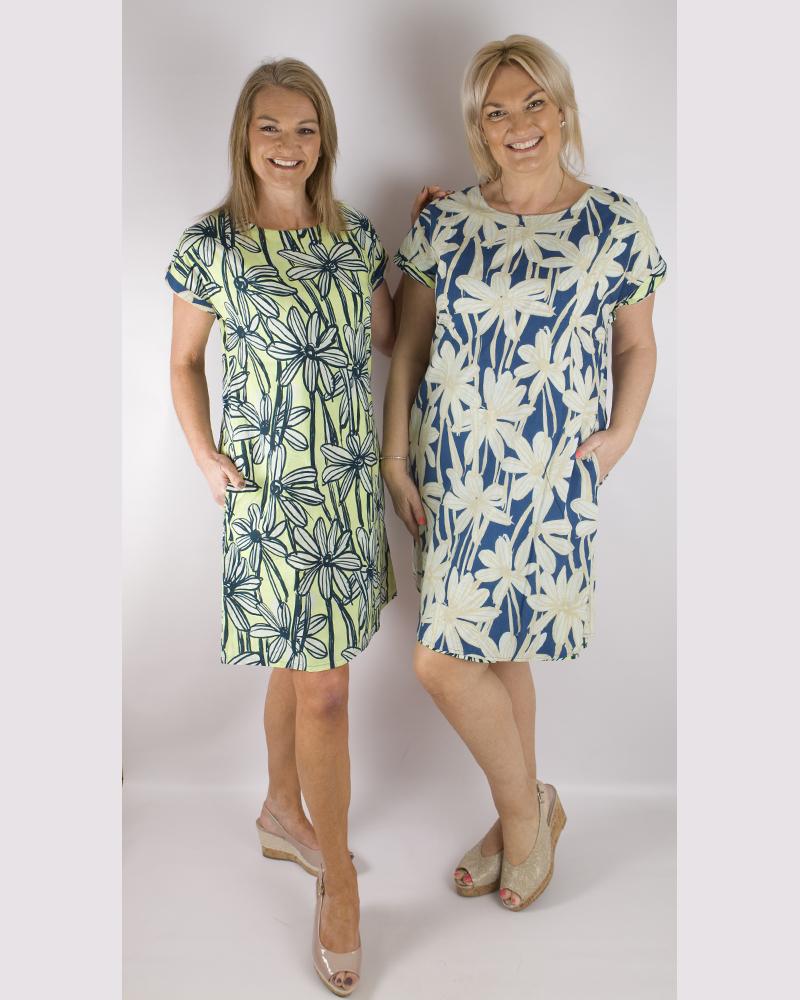 Orientique reversible dress   61386  Evora  Lime/Navy