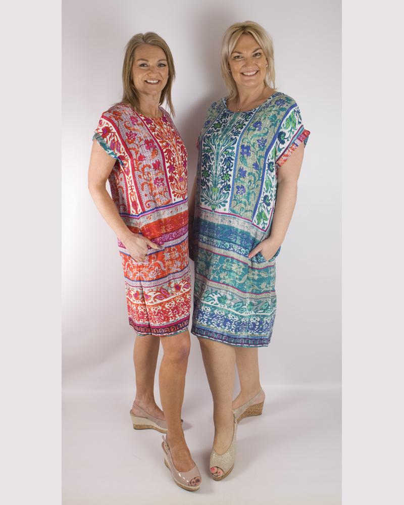 Orientique reversible dress    61406 Ibiza  Green/Red